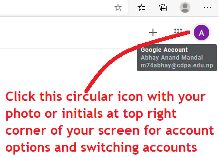 Google account switch add new google account google apps google classroom online class click circular icon with your pohto or your initials on top right corner of the screen to switch google account