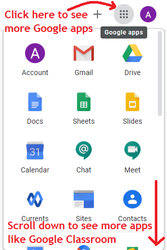 Open more google apps from Central Department of Public Administration, Public Administration campus, by clicking 3x3 9 dots on top right corner of screen near your account icon