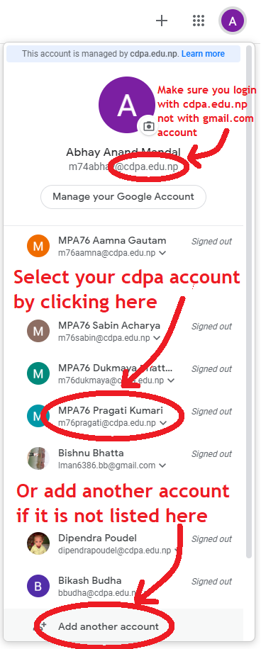 Google login with cdpa.edu.np account. institutional account. Switch google account, Add anotheGoogle login with cdpa.edu.np account. institutional account. Switch google account, Add another google account for Public Administration Campusr google account